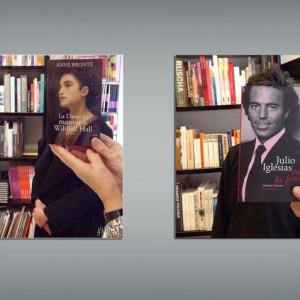 libros en caras de personas