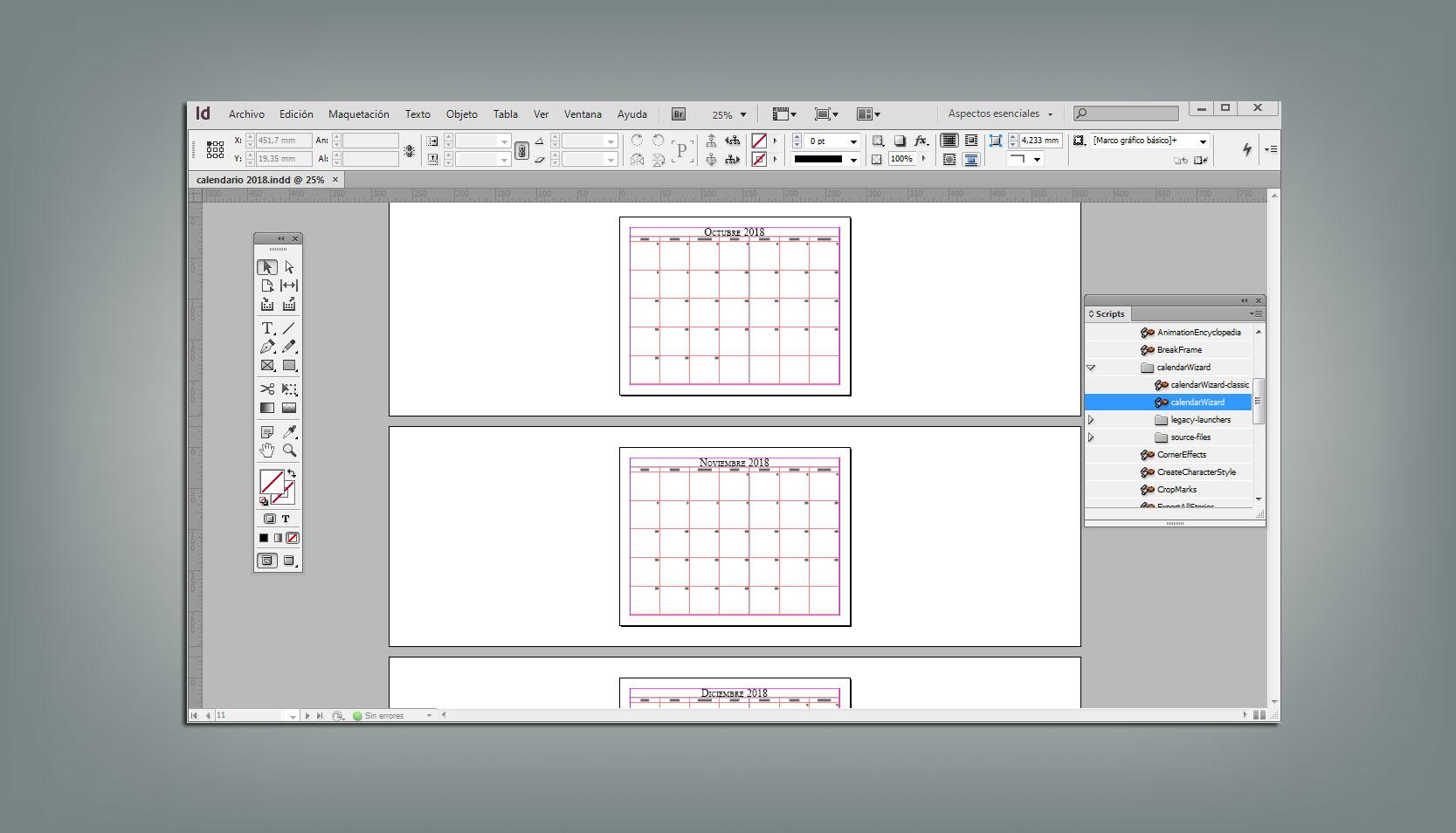 C mo hacer tu calendario 2018 para imprimir con indesign - Como hacer tu propio calendario ...